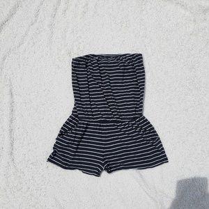 POCKETS! Striped Dark Blue White Romper Shorts